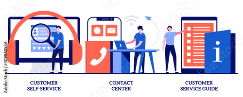 Canvas Customer self-service, contact center, customer service guide concept with tiny people