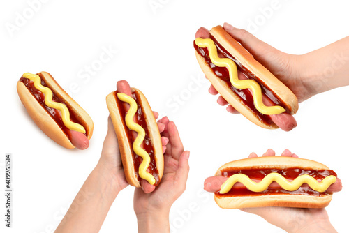 Tablou Canvas Hot dog isolated on white background. Copy space.