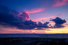 Spectacular Scenery Of Madrid City Under Colorful Cloudy Sky At Sundown In Spain