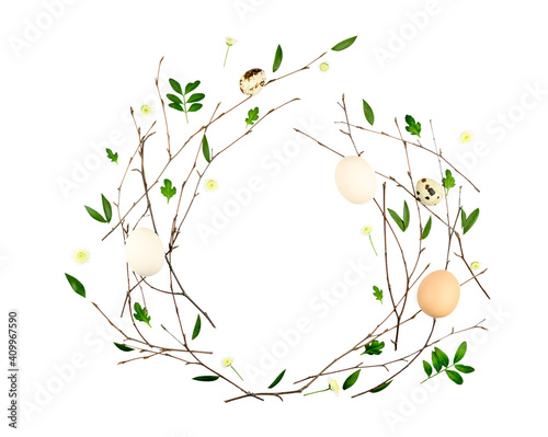 Fototapeta Easter Flowers composition. Pattern made of branches and leafs.flat lay, top view obraz