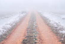 Dirt Track With Frozen Grass In A Foggy Day In Winter.