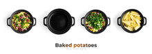 Baked Potatoes With Sausages, Cheese And Herbs. Potatoes In A Black Saucepan.