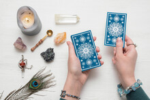 Fortune Teller Is Reading The Future With A Tarot Cards Top View.