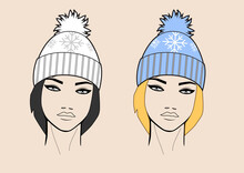 Young Pretty Woman Wearing Knitted Hat With Pom-pom, Black And White Vector Portrait
