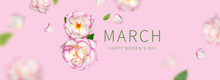 Creative Concept For March 8 From White Roses With Pink Edge. Number Eight From Pink Roses On Pink Background. International Women's Day. Flower Card, Floral Composition. Spring, Holiday, Layout, Art