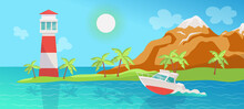 Tropical Summer Day Sea Landscape With Boat, Flat Cartoon Vector Illustration.