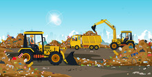 The Tractor Driver Manages The Garbage Dump Taken From The City.