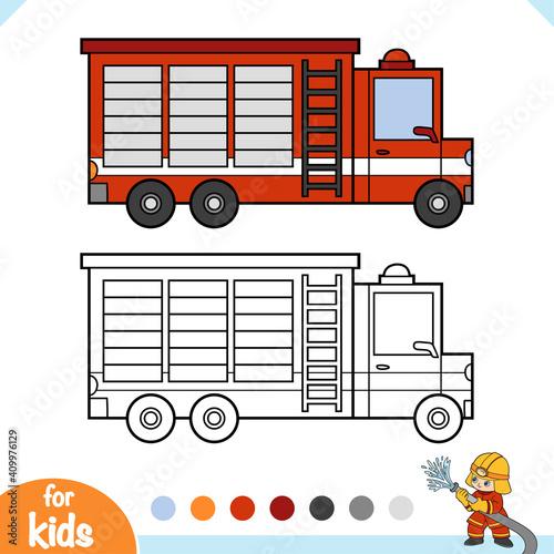 Obraz na plátne Coloring book for kids, Fire engine