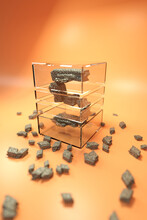 3d Illustration Of Number 5 Symbol Composed Of Gray Stones Inside Transparent Glass Box On Blurred Shiny Orange Background With Scattered Stony Pieces