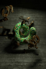3d Illustration Of Green Swirled Worm Like Figure With Flying Abstract Elements Against Shabby Wooden Surface With Blur Effect