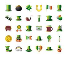 St Patricks Day Celebration Irish Icons Hat Cauldron Coin Leprechaun Heart Flag Clover Horseshoe