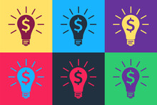 Pop Art Light Bulb With Dollar Symbol Icon Isolated On Color Background. Money Making Ideas. Fintech Innovation Concept. Vector.