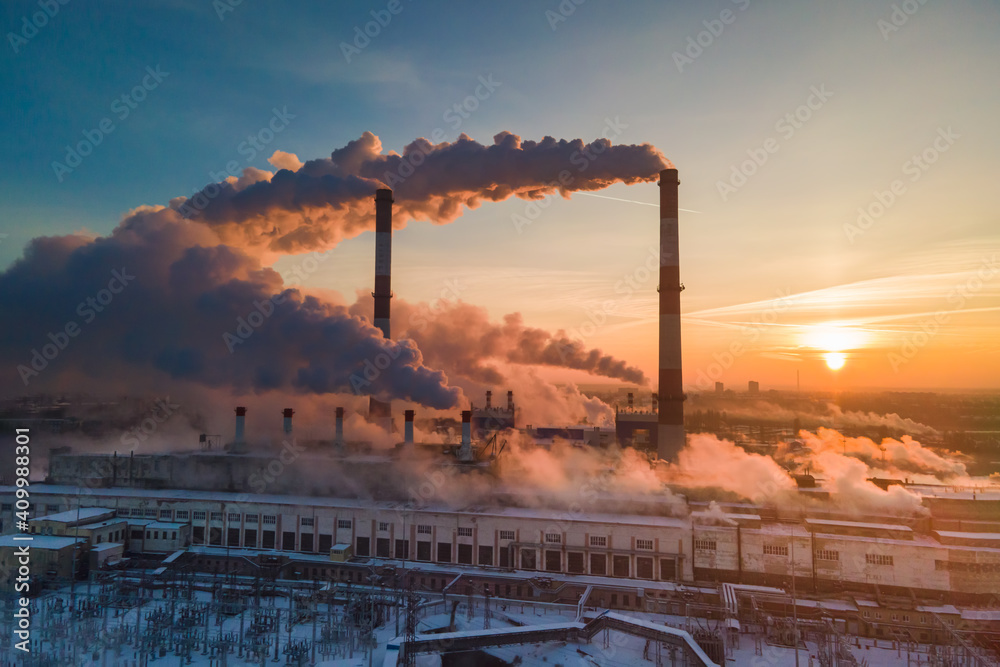 Fototapeta Industrial factory pollution, smokestack exhaust gases. Industry zone, thick smoke. Climate change and global warming