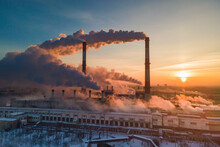 Industrial Factory Pollution, Smokestack Exhaust Gases. Industry Zone, Thick Smoke. Climate Change And Global Warming