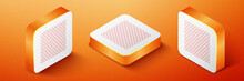 Isometric Chain Fence Icon Isolated On Orange Background. Metallic Wire Mesh Pattern. Orange Square Button. Vector.