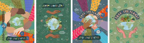 Fototapeta Happy Earth Day! Vector eco illustrations for social poster, banner or card on the theme of saving the planet, human hands protect our earth. Make an everyday earth day obraz