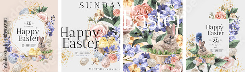 Photo Happy Easter! Vector illustrations of watercolor cute bunny, chick, flowers, plants and greeting frame