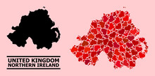 Love Collage And Solid Map Of Northern Ireland On A Pink Background. Collage Map Of Northern Ireland Created From Red Valentine Hearts. Vector Flat Illustration For Love Conceptual Illustrations.