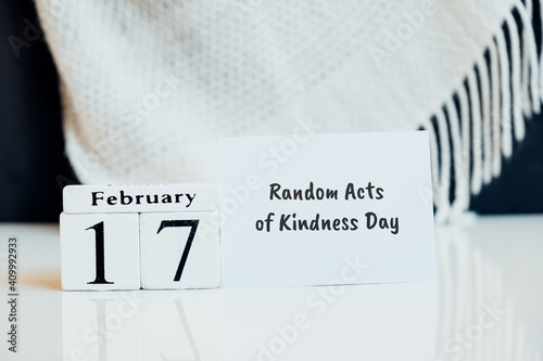 Random Acts of Kindness Day of winter month calendar february Wallpaper Mural