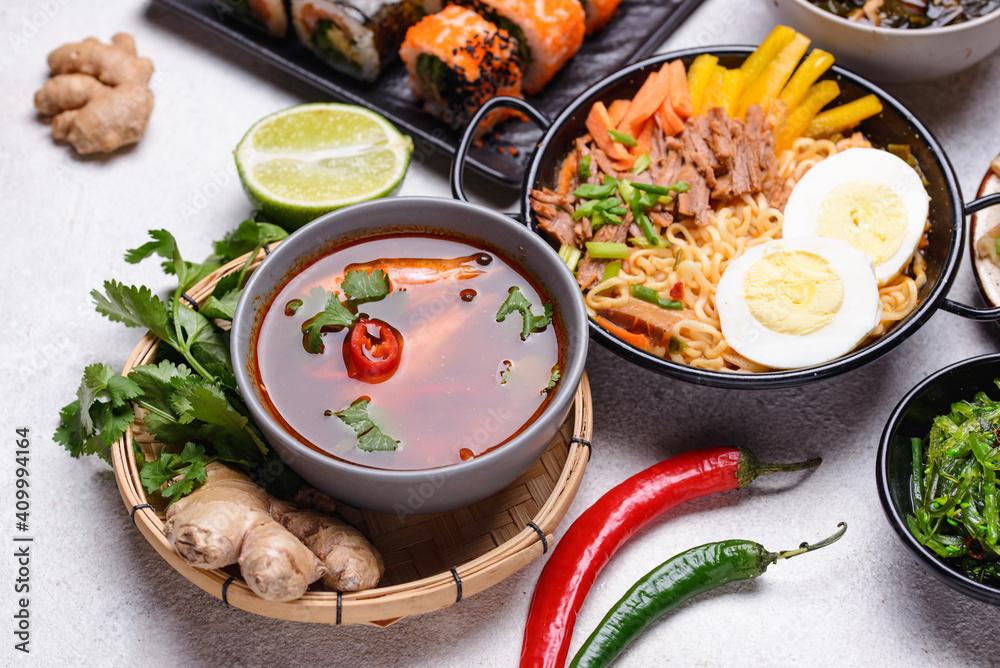 Fototapeta Asian food. Chinese, Japanese and Thai cuisine