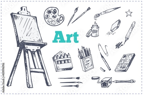 Fototapeta Drawing and painting supplies, vector icons set