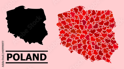 Love pattern and solid map of Poland on a pink background Fototapet