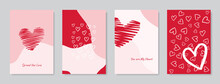 Valentine's Day Concept Posters Set. Vector Illustration. Flat Red And Pink Paper Hearts With Frame On Geometric Background. Cute Love Sale Banners Or Greeting Cards