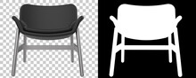 Modern Chair Isolated On Background With Mask. 3d Rendering - Illustration