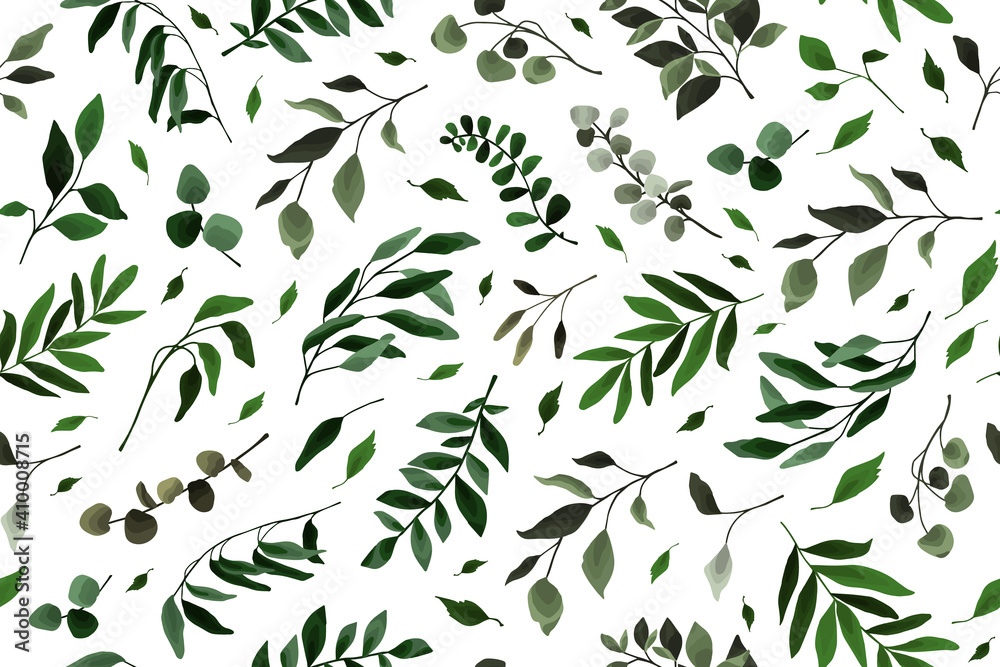 Fototapeta Seamless pattern with greenery leaves branch twig flora plants for floral watercolor wedding card, wallpaper, botanical foliage. Vector elegant herbal spring background
