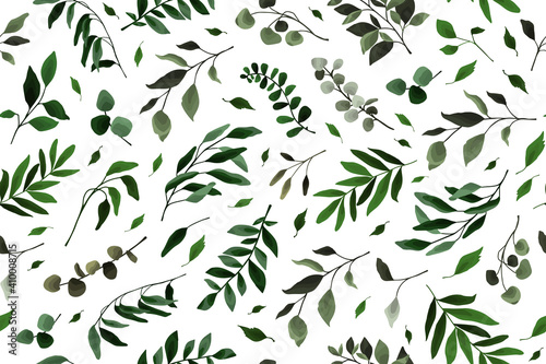 Fototapety, obrazy: Seamless pattern with greenery leaves branch twig flora plants for floral watercolor wedding card, wallpaper, botanical foliage. Vector elegant herbal spring background