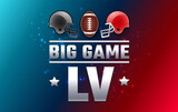 Football LV big game Sunday USA - two football teams helmets red and gray color and football ball 2021 - red and blue shining background