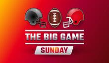 Super Bowl Big Game Sunday Banner - Championship Final Red Background Vector Illustration