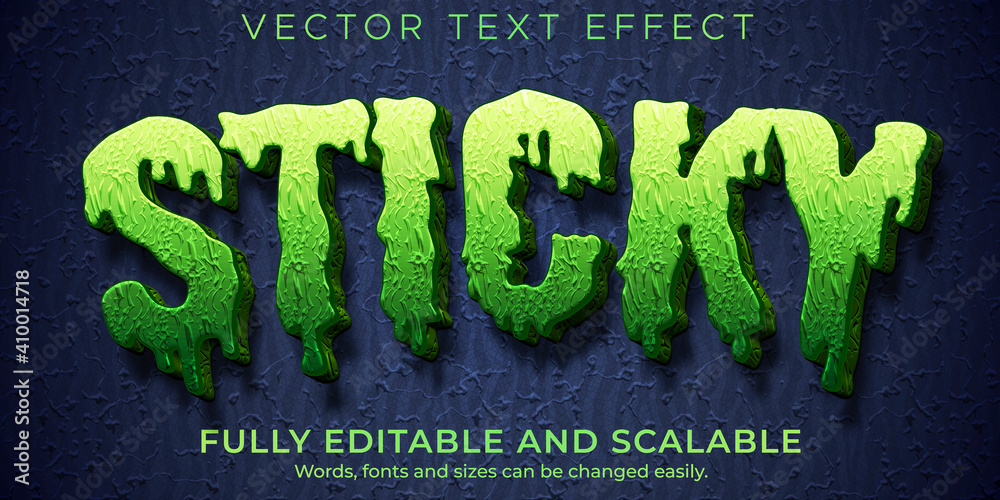 Fototapeta Sticky zombie text effect, editable monster and scary text style