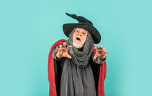Scary Zombie Man. Gothic Man In Halloween Costume. Magic Concept. Experienced And Wise. Wizard Costume Hat Halloween Party. Halloween Wide Banner. Halloween Decoration And Scary Concept. 31 October