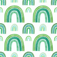 Stylish Watercolor Seamless Pattern With Green Rainbows In A Childish Style. Hand-drawn Elements For Textiles, Fabric, Wallpaper, Stationery, Posters, Prints, Invitations, Cards, Baby Shower.
