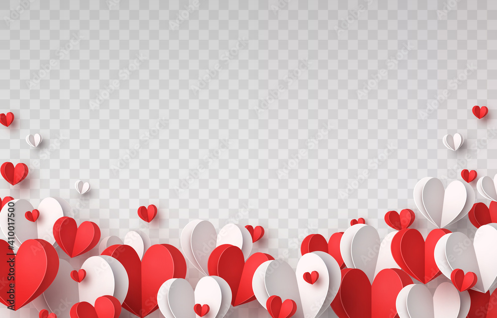 Fototapeta Valentine's paper confetti hearts isolated on transparent background. Vector white and red symbols of love border for romantic banner or Happy Mother's Day greeting card design
