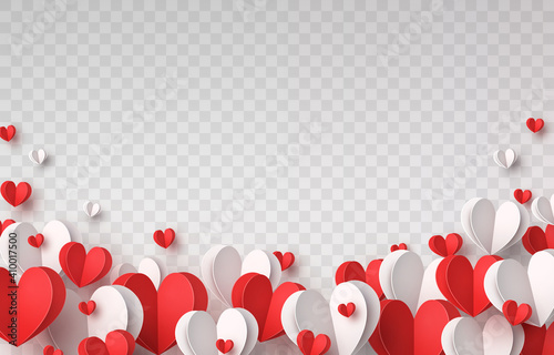 Obraz Valentine's paper confetti hearts isolated on transparent background. Vector white and red symbols of love border for romantic banner or Happy Mother's Day greeting card design - fototapety do salonu