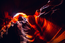 Image In Low Key With Colorful Antelope Canyon In Page Arizona