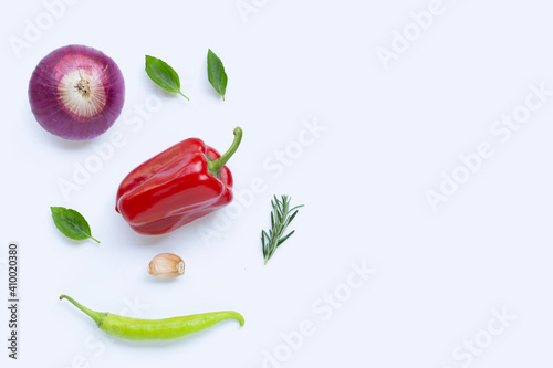Obraz Various fresh vegetables and herbs on white background. - fototapety do salonu
