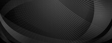 Abstract Background Made Of Curves And Halftone Dots In Black And Gray Colors