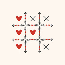 Black And Red Tic Tac Toe Game With Arrows, Heart And Cross Sign Icons Card On Pink Background