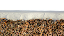 Firewood Snow Wall Background Isolated On White. Dry Chopped Firewood Logs Stack Wall Cover With Snow, Panorama. Pile Of Firewood Wooden Stacked Wall In Winter Snow On White Background. Natural Wood