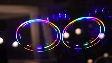 Colorful RGB Led Lights Of Gaming Computer Cooling Fan Rotation