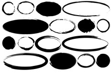 Modern Brush Ovals Circles. Ink Brush Stroke. Hand Drawn Illustration. Vector Drawing. Stock Image. EPS 10.