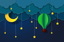 Night Sky With Stars And Moon. Paper Art Style. Vector Of A Crescent Moon With Stars On A Cloudy Night Sky. Moon And Stars Background. Vector EPS 10.
