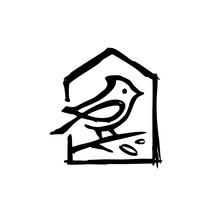 Cardinal House Leaf Ink Dry Brush Black Logo Vector Icon Illustration