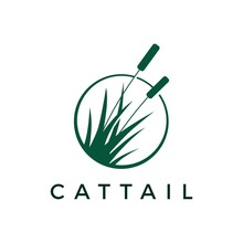 Cattail Grass Logo Vector Icon Illustration