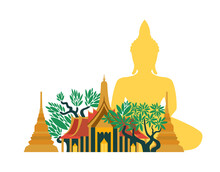Wat Phra Keo Temple With Buddha And Bodhi Trees In Thailand. Vector Illustration.