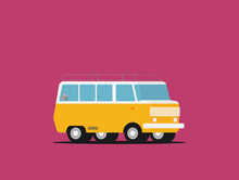 Vector Illustration Of A Travel Car Isolated On Color Background