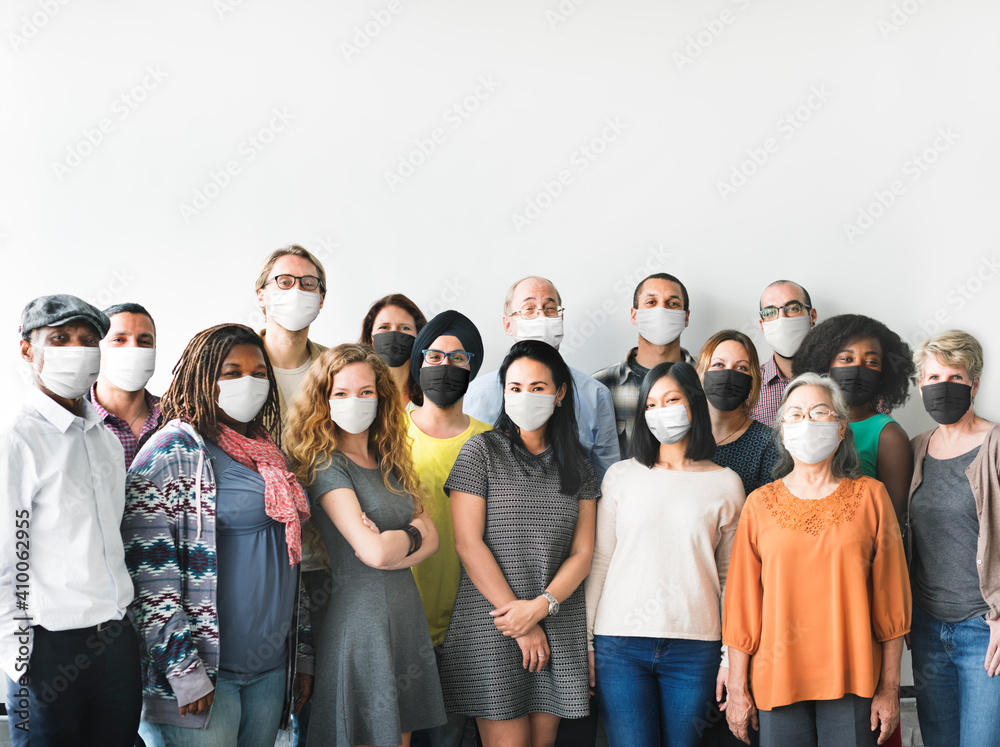 Fototapeta Diverse startup business people with masks in the new normal